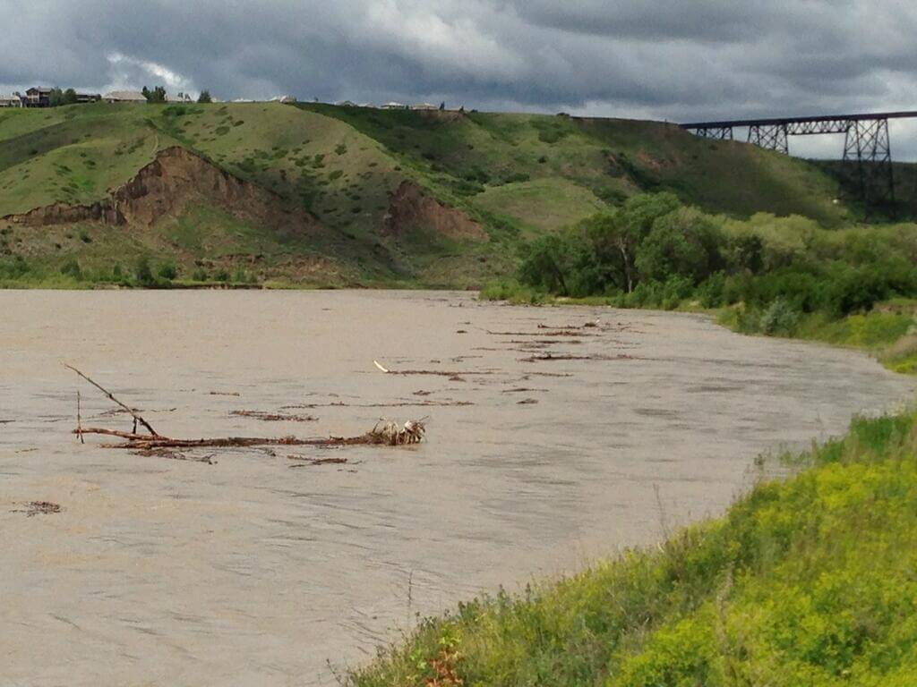 Debris being washed on the Oldman (Photo credit; City of Lethbridge)