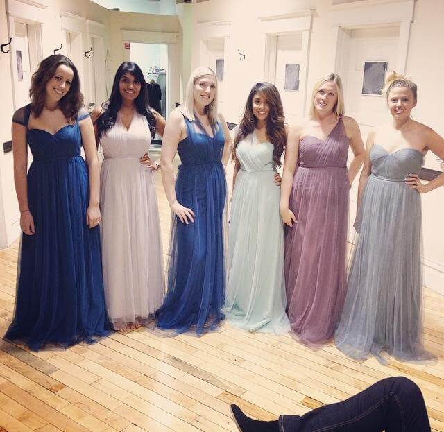 Trying on bridesmaid dresses