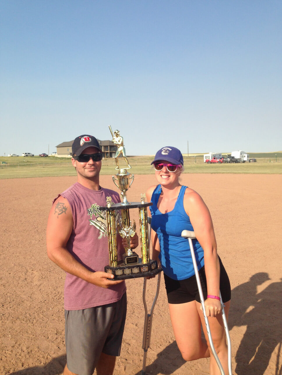 Softball, Crutches, and a Trophy