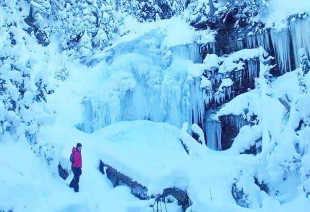 Snowshoeing to a Frozen Forum Falls
