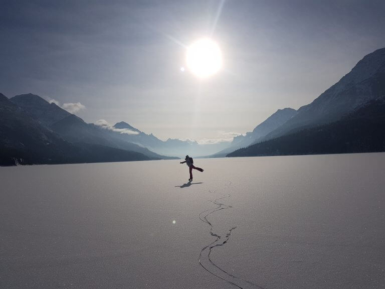 Ice Skating on Waterton Lake