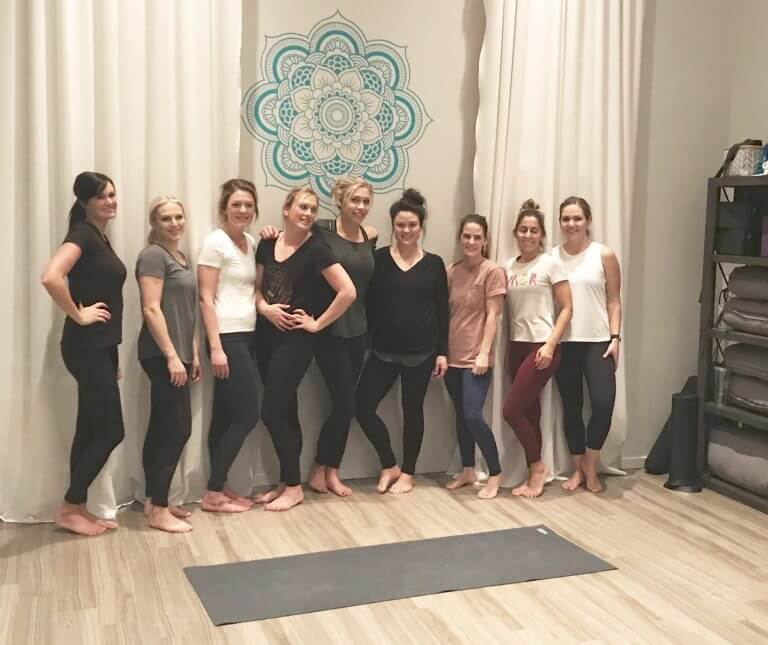 Girl's Night Out Doing Aerial Yoga